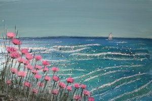 Meet-thy-maker pink sea thrifts gave a cheery wave to the bright new day