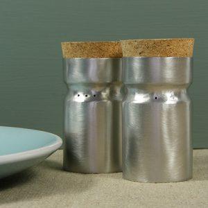 Nettie Birch Pewter Salt Pepper Shakers